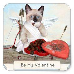 Cupid Kitten Square Stickers - Saint Valentine's Day gift idea couple love girlfriend boyfriend design