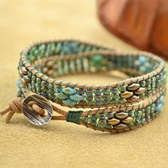 Superduo Bead Wrapped Leather Cord Bracelet Tutorial (The Beading Gem's Journal)