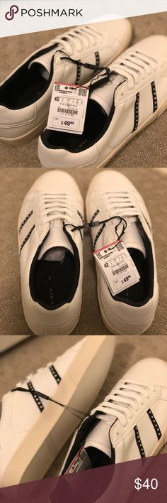 Studded White Sneakers Brand new; White Zara Shoes Sneakers