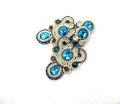 Unique Clip On Earrings - Turquoise Gold Long Drop Earrings , Handmade Soutache…