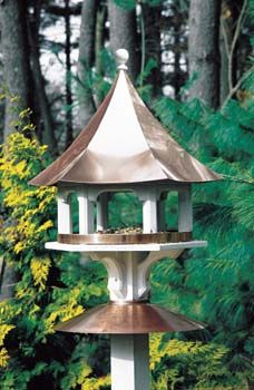 Verdigris Carousel Bird Feeder with a Copper Roof