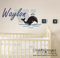 Whale with name nursery wall decal. nursery decor by ValdonImagesNursery #beachdecor #kidsroom