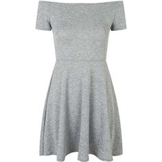 Catalina Dress by Motel ($36) ❤ liked on Polyvore featuring dresses, vestidos, short dresses, grey, off the shoulder mini dress, short-sleeve dresses, short gray dresses and grey skater dress