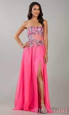 Prom Dresses, Celebrity Dresses, Sexy Evening Gowns at PromGirl: Strapless Neon Pink Floor Length Prom Dress