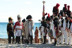 Thousands of spectators gathered on the beach at Golfe-Juan on the Cote d'Azur to watch the re-enactment of the French dictator's arrival…
