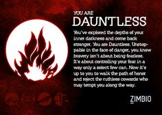 I took Zimbio and AMC Theatre's 'Divergent' quiz, and I'm Dauntless! Which faction are you? #ZimbioQuiz