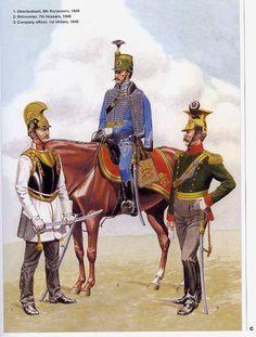 1:Oberleutnant,8th Kurassiers,c.1849.2:Rittmaister,7th Hussars,1848.3:Company officer,1st Uhlans,1848.