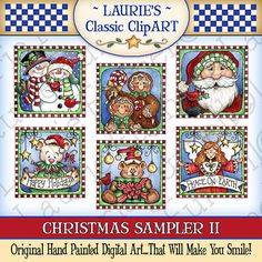 Sampler de Navidad II Arte Digital por lauriefurnelldesigns en Etsy