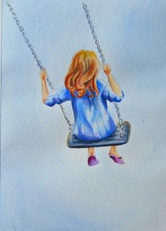 Girl on a Swing Swing Painting, Painting Of Girl, Painting For Kids, Swing Pictures, Duck Art, Indian Art Paintings, Writing Art, Guache, Whimsical Art
