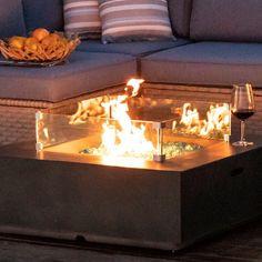 Outdoor Propane Fire Pit, Fire Pit Backyard, Outdoor Fire Pit Table, Outdoor Living, Glass Fire Pit, Fire Pits, Backyard Patio Designs, Patio Ideas, Backyard Ideas
