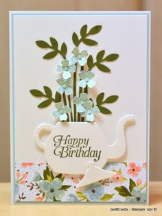 Flowers in a Teapot made using the Stampin' Up! Cups & Kettle Framelits Dies. See my video to see how I made this card: https://youtu.be/m_GKEXoM6ow