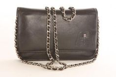 Authentic Chanel Black Calfskin Embossed Jacket Wallet On Chain