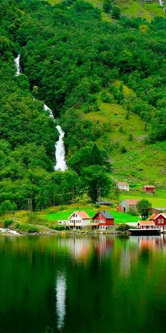 Sognefjord in Norway is the longest fjord in the world and is also home to Nær. Sognefjord in Norway is the longest fjord in the world and is also home to Nærøyfjord which was declared a UNESCO site Beautiful Norway, Beautiful World, Beautiful Waterfalls, Beautiful Landscapes, Beautiful Places To Visit, Wonderful Places, Nature Pictures, Beautiful Pictures, Natur Wallpaper