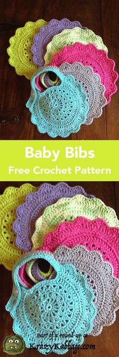 Sewing Gifts I don't know about you, but I love to crochet gifts for new babies. There's just something so personal and special about making an item especially for that new little life. Also, I find… Crochet Baby Bibs, Crochet Baby Clothes, Crochet Gifts, Crochet For Kids, Crochet Flower Patterns, Crochet Motif, Crochet Stitches, Free Crochet, Knit Crochet