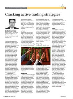 """""""Cracking active trading strategies"""" - Article Published in the August 2015 issue of Business 360 magazine!"""