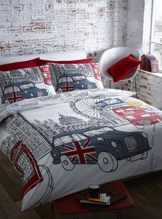 London Quilt Doona Cover Set Queen Size Bedding Big Ben Uk