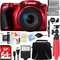 Canon PowerShot SX420 IS 20MP 42x Optical Zoom Digital Camera (Red) + Two-Pack NB-11L Spare Batteries + Accessory Bundle. CANON AUTHORIZED DEALER - Includes Full CANON USA WARRANTY. Canon PowerShot SX420 IS 20MP 42x Optical Zoom Digital Camera + Wi-Fi (Red). CAMERA INCLUDES: Canon PowerShot SX420 IS Digital Camera - Battery Pack NB-11LH. Battery Charger CB-2LF - Wrist Strap WS-DC12 - Lens Cap (with Strap). BUNDLE INCLUDES: 64GB Class 10 UHS-1 SDXC Memory Card - Compact Deluxe Gadget Bag -...