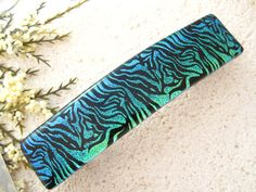 Large Dichroic Barrette Blue Green Barrette Hair by ccvalenzo