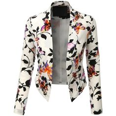 Sharpen your wardrobe with this cropped open front floral blazer. A softly draped open-front silhouette softens the look while the asymmetrical hem adds a modern touch to this blazer. This blazer is perfect for either professional environment or for casua Blazer Outfits Casual, Blazer Outfits For Women, Blazers For Women, Ladies Blazers, Casual Wear, Formal Jackets For Women, Dress Outfits, Women Blazer, Blazer Jackets For Women