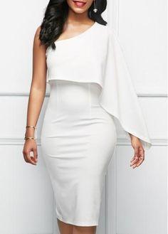 #BFCM #CyberMonday #rotita.com - #unsigned White One Shoulder Back Slit Sheath Dress - AdoreWe.com