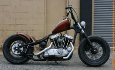 "Great stance on ""Looky Looky,"" a 1974 Ironhead Bobber by Nash Bros."