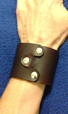 Brown Leather Cuff - Silver studs - Studded Bracelet Cuff