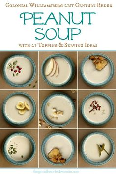 Factors You Need To Give Thought To When Selecting A Saucepan Savory Cream Of Peanut Soup With 21 Toppings - Weve Updated The Historical Recipe With Century Tastes In Mind, While Retaining The Rich, Satisfying Essence Of Original. Enlivened By The Kin Quick Soup Recipes, Side Dish Recipes, Vegetarian Recipes, Dinner Recipes, Yummy Recipes, Chili Recipes, Vegetable Recipes, Fall Recipes, Dessert Recipes