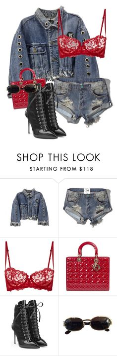 """Untitled #3784"" by xirix ❤ liked on Polyvore featuring Abercrombie & Fitch, La Perla, Giuseppe Zanotti and Versace"