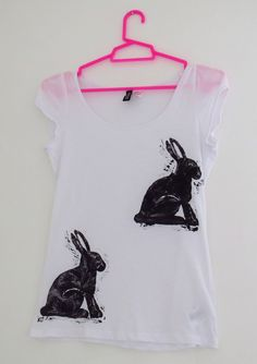 Hare Print T-Shirt - Rabbit Quirky Black & White Women's Top - Hand Printed - Fun and Cute Cotton T Shirt - Under 15 Pounds. £12.00, via Etsy.