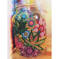 Insta: @mandalaminds /Mandala Minds / Weed Jar / Nug Jar / Mary Jane Jars / Pot Leaves / Colorful / Beautiful