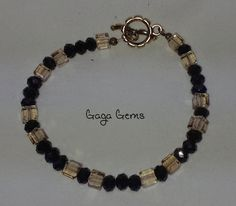 Smokey Cubes Black Crystals and Silver Beaded Bracelet by GagaGems, $15.00