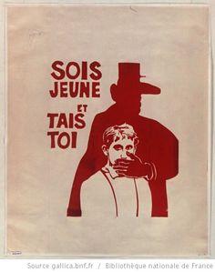 [Mai 1968]. Sois jeune et tais toi. Atelier populaire de l'Ecole des Beaux-Arts : [affiche] (Tirage de l'affiche en rouge) / [non identifié] - 1