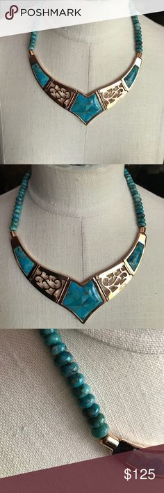 NEW Gold w Turquoise Inlay Hinged Necklace The turquoise beaded strand is 5 inches on each side of the hinged pendants w a 3 1/2 extender. Please see other measurements. New in box there are no tags. Jewelry Necklaces