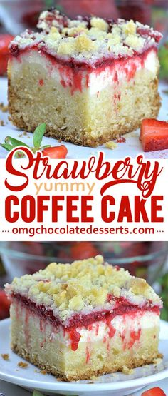 Strawberry Coffee Cake is delicious moist sweet and tangy breakfast or snack cake but very satisfying dessert too! Strawberry Coffee Cake is delicious moist sweet and tangy breakfast or snack cake but very satisfying dessert too! Strawberry Coffee Cakes, Strawberry Desserts, Strawberry Sauce, Strawberry Flan Cake Recipe, Food Cakes, Cupcake Cakes, Snack Cakes, Cupcakes, Fruit Cakes
