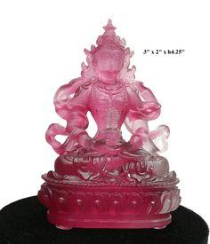 Crystal Glass Liuli Pate-de-verre Pink Tara Buddha Figure - Golden Lotus Antiques