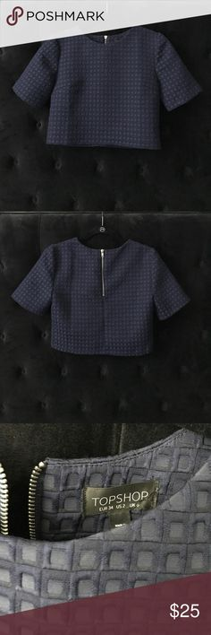 Topshop Cropped top Dark blue, mid length sleeved cropped top. Beautiful quality. Never worn. Topshop Tops Crop Tops