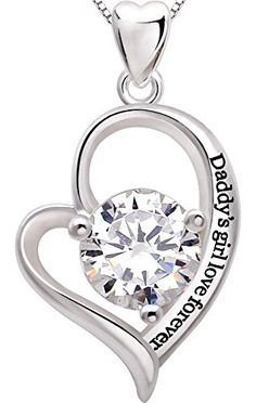 ALOV Jewelry Sterling Silver Daddys girl love forever Love Heart Cubic Zirconia Pendant Necklace >>> Check out the image by visiting the link.(This is an Amazon affiliate link)