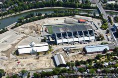 Aerial view of excavations at Lansdowne Park Aerial View, Park, Image, Design, Parks, Design Comics