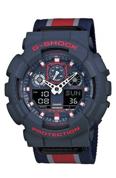 G-Shock 'XL Ana-Digi' Nylon Strap Watch, 55mm available at #Nordstrom Please buy this for me