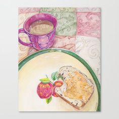 Coffee and Chocolate Chip Bread with Peanut Butter Canvas Print by oversteeped Chocolate Chip Bread, Canvas Prints, Art Prints, Buy Frames, Cute Gifts, Printing Process, Peanut Butter, Chips, Coffee