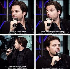 Sebastian describes the different experiences in CW compared to TWS<<<I'm so glad he got to talk, laugh, and smile as Bucky in this movie in addition to having even more screen time and awesome action scenes!