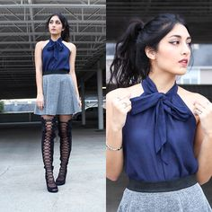 Gina - Forever 21 Bow Blouse, H&M Grey Skater Skirt, Daisy Street Lace Up Thigh High Boots - Just Like Heaven