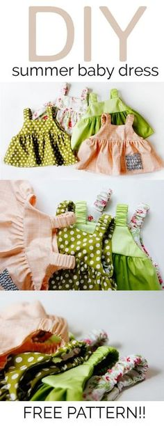 Sewing Baby Girl Easy baby dress pattern for summertime. - learn to sew an easy baby dress pattern free, free baby dress pattern, free and easy baby top pattern, easy baby top pattern, free pdf pattern Baby Dress Pattern Free, Baby Dress Patterns, Sewing Patterns Free, Free Sewing, Clothing Patterns, Top Pattern, Sewing Tips, Pattern Dress, Free Pattern
