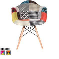 2xhome Modern Eames Armchair With Arm Dining Chair Patchwork Fabric with Natural Wood Legs