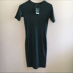 TOPSHOP zip body con Gray bodycon with silver zips on both sides up to thigh. Dress is knee length. NWT petites sizing but will fit regular Topshop PETITE Dresses