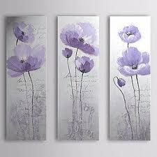 Bring the elegance of the purple poppy to any room by adding this Safavieh Purple Poppy Wall Art. 3 Piece Canvas Art, Canvas Wall Art, Painted Canvas, Hand Painted, Oil Painting Flowers, Painting On Wood, Wood Paintings, Purple Wall Art, Purple Canvas