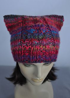Excited to share the latest addition to my #etsy shop: Knit Cat Hat, Womens Cat Beanie, Rainbow Hat, Womens Accessories, Winter Hat, Christmas gift, Gift for her http://etsy.me/2iVA8Jb #accessories #hat #rainbow #birthday #christmas #slouchybeanie  #multicolourcap #womenscap