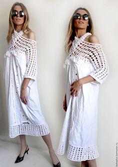 Купить или заказать Платье -рубашка в богемном стиле 'Богемия2' в интернет-магазине на Ярмарке Мастеров. В облаках богемных бохо Собирала виноград О тебе милый мечтала Плечи жарко обнажала Ожидала, ожидала. Платье рубашка в стиле богемного бохо шик с красивой частью вязаных деталей. В кокетке главное не запутаться . Эта трансформация позволяет меняться в одном изделии и удивлять окружающих. Декор переда платья с божьими коровками , трогательная часть платья. Индивидуальность и шик.