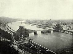 1901 Erzsébet híd Most Beautiful Cities, Bratislava, Budapest Hungary, Vintage Photography, Ancestry, Time Travel, Vienna, Bridges, Old Photos