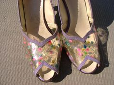 195060's Peep Toe SHOES Lavender with Flowers by tyjulmere on Etsy, $39.00